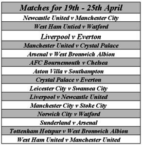 epl matches of the week