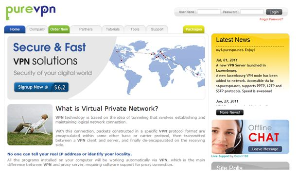 Pure VPN Homepage