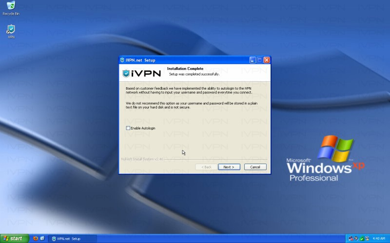 iVPN Setup Windows XP