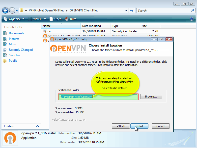 VPN Setup Windows Vista